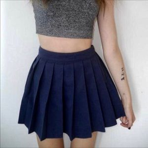 📚 Navy Blue Pleated Schoolgirl Mini Skirt